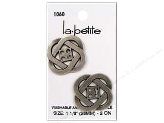 "Buttons 18"": LaPetite 4 Hole Buttons 1 1/8 in.  Antique Silver #1060 2pc."