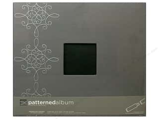 American Crafts Postbound Album 12 x 12 in. Grey with Damask