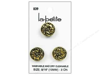 LaPetite Shank Buttons 9/16 in. Black/Gold #839 3pc.