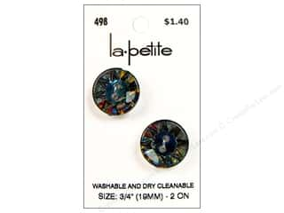 LaPetite Buttons 19mm: LaPetite 2 Hole Buttons 3/4 in. Iridescent Rainbow #498 2pc.