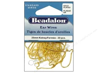 Beadalon Ear Wires Kidney 25mm Gold Plated 20pc