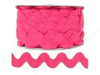 Ribbon Work Ribbons / Fabrics / Threads / Cords: Ric Rac by Cheep Trims  1 in. Bright Pink (24 yards)