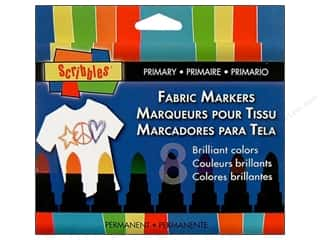 Erasers Fabric Markers, Temporary & Permanent: Scribbles Fabric Marker Primary 8pc