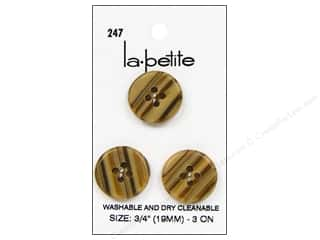 LaPetite Buttons $3 - $7: LaPetite 4 Hole Buttons 3/4 in. Tan #247 3pc.
