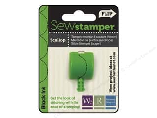 Straight Stitch Rubber Stamping: We R Memory Sew Stamper Scallop Black