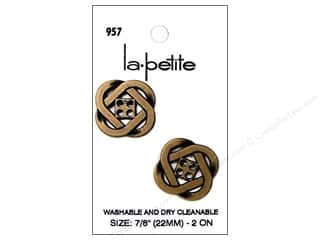 LaPetite Buttons 22mm: LaPetite 4 Hole Buttons 7/8 in. Antique Gold #957 2pc.