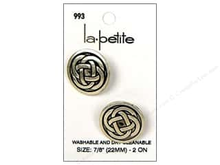 LaPetite Buttons 22mm: LaPetite Shank Buttons 7/8 in. Antique Silver #993 2pc.
