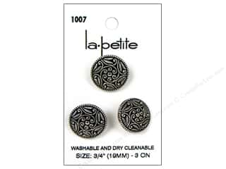 Sewing & Quilting LaPetite Buttons: LaPetite Shank Buttons 3/4 in. Antique Silver #1007 3pc.