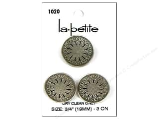 LaPetite Shank Buttons 3/4 in. Antique Silver #1020 3pc