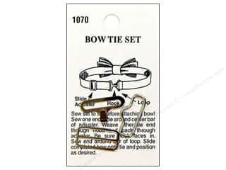 Buttons Sew-on Buttons: LaPetite Bow Tie Hardware Set Silver #1070