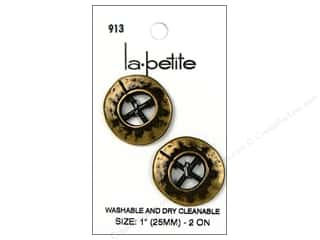 LaPetite Buttons: LaPetite 4 Hole Buttons 1 in. Antique Gold #913 2pc.