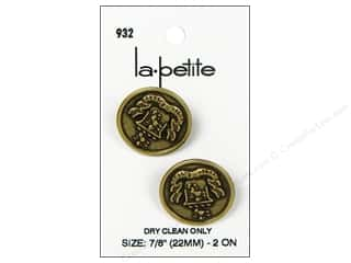 LaPetite Buttons 22mm: LaPetite Shank Buttons 7/8 in. Antique Gold with Crest #932 2pc.