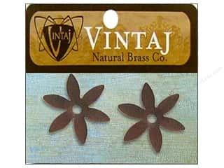 Vintaj Blanks 6 Petal Flower Nat Brass 2pc
