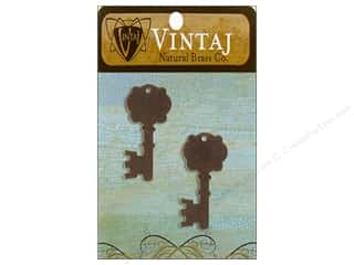 Vintaj Blanks Fancy Key Nat Brass 2pc