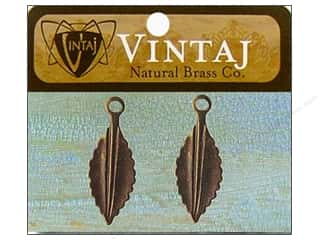 Clearance Blumenthal Favorite Findings: Vintaj Fastenables Persica Leaf Nat Brass 2pc