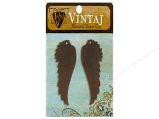 Vintaj Blanks Feathered Wing Nat Brass 2pc
