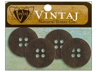 Vintaj Blanks Button 19mm Nat Brass 4pc