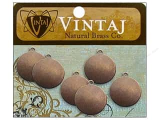 Vintaj Blanks Circle Tag Nat Brass 6pc