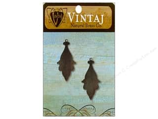 Charms and Pendants Vintaj Blanks: Vintaj Blanks Georgian Drop Natural Brass 2pc