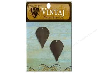 Vintaj Blanks Trailing Leaf Nat Brass 2pc