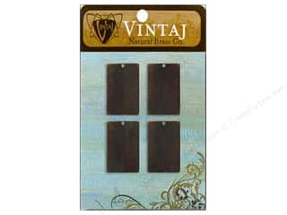 Vintaj Blanks Sm Rectangle Nat Brass 4pc