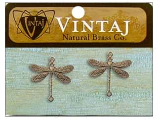 Vintaj Charm Dragonfly Nat Brass 2pc