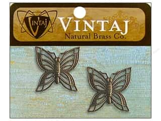 Vintaj Charm Filigree Butterfly Nat Brass 2pc