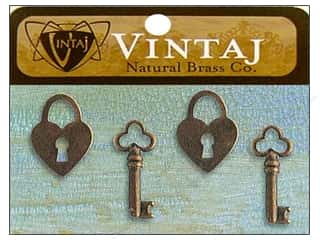 Valentine's Day $15 - $90: Vintaj Charm Hearts & Keys Natural Brass 4pc