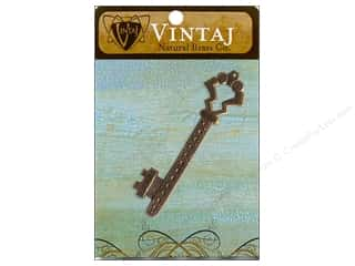 Vintaj Findings: Vintaj Charm Gate Key w/Hole Natural Brass