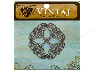 Vintaj Charm Openwork Flower Filigree Nat Brass