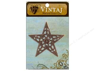 Charms and Pendants Vintaj Charm: Vintaj Charm Star Trellis Natural Brass