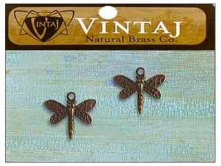 Vintaj Charm Princess Dragonfly Nat Brass 2pc