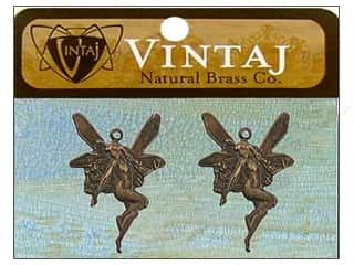 Vintaj Charm Whimsical Fairy Nat Brass 2pc