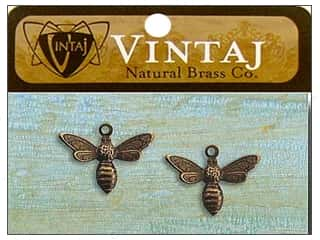 Vintaj Charm Busy Bee Nat Brass 2pc