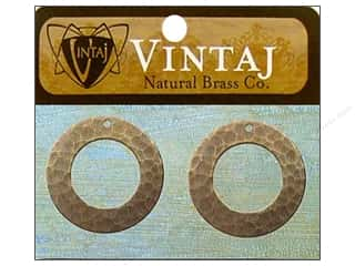 Vintaj Charm Hammered Ring Nat Brass 2pc