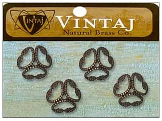 Vintaj Bead Cap Etruscan 12mm Nat Brass 4pc