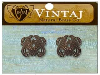 Vintaj Bead Cap Love Birds 11mm Nat Brass 2pc