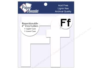 "Paper Accents Adhesive Vinyl Letters Removable 4"" Ff White 2pc"