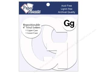 "Accent Design Vinyl paper dimensions: Paper Accents Adhesive Vinyl 4 in. Letters ""Gg"" 2 pc. Removable White"