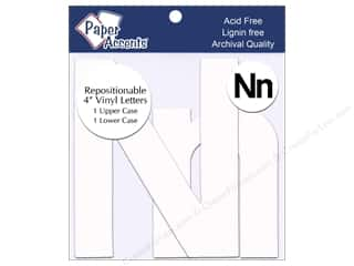 "Paper Accents Adhesive Vinyl Letters Removable 4"" Nn White 2pc"