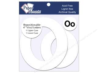 "Sheet Vinyl Paper Accents Adhesive Vinyl: Paper Accents Adhesive Vinyl 4 in. Letters ""Oo"" 2 pc. Removable White"