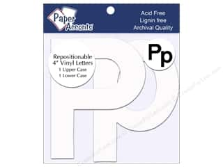 "Accent Design Vinyl paper dimensions: Paper Accents Adhesive Vinyl 4 in. Letters ""Pp"" 2 pc. Removable White"