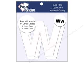 "Paper Accents Adhesive Vinyl Letters Removable 4"" Ww White 2pc"