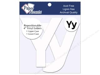 "Paper Accents Adhesive Vinyl Letters Removable 4"" Yy White 2pc"