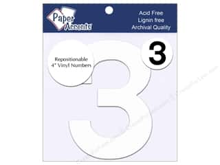 "Paper Accents Adhesive Vinyl Numbers Removable 4"" 3 White 2pc"