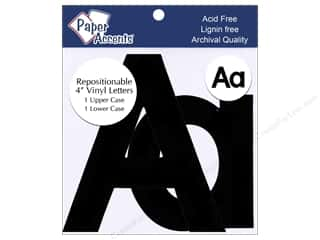 "Sheet Vinyl Black: Paper Accents Adhesive Vinyl 4 in. Letters ""Aa"" 2 pc. Removable Black"