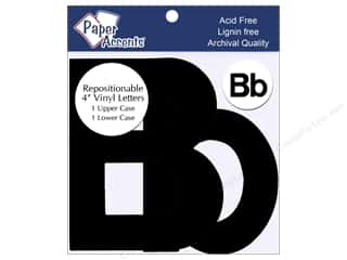 "iron-on upper and lower case letters: Adhesive Vinyl 4 in. Letters ""Bb"" 2 pc. Removable Black"