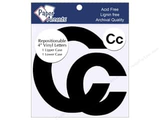 "Sheet Vinyl Black: Paper Accents Adhesive Vinyl 4 in. Letters ""Cc"" 2 pc. Removable Black"
