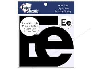 "Sheet Vinyl Black: Paper Accents Adhesive Vinyl 4 in. Letters ""Ee"" 2 pc. Removable Black"