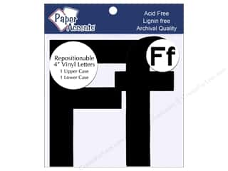 "Paper Accents: Adhesive Vinyl 4 in. Letters ""Ff"" 2 pc. Removable Black"